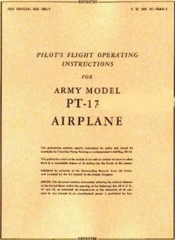Pilot's flight operating instructions for army model  PT-17 Airplane
