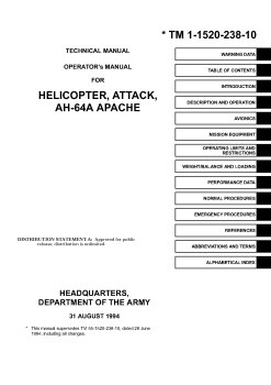 TM 1-1520-238-10 TECHNICAL MANUAL OPERATORS MANUAL FOR HELICOPTER, ATTACK, AH-64A APACHE