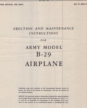 Erection and Maintenance Instructions for Army model B-29 Airplane