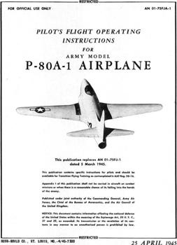 Pilot's Instructions for Army model P-80A-1 Airplane