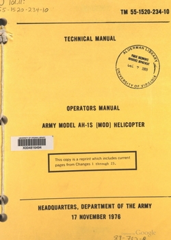 Operators Manual Army Model AH-1S Helicopter