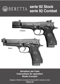 Beretta Serie 92  Instructions for operation