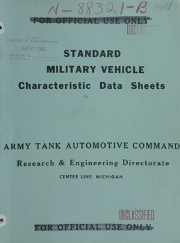 Standard military vehicle Characteristic data sheets